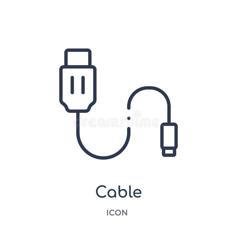 Lineair kabelpictogram van de Elektronische inzameling van het apparatenoverzicht De dunne die vector van de lijnkabel op witte a vector illustratie