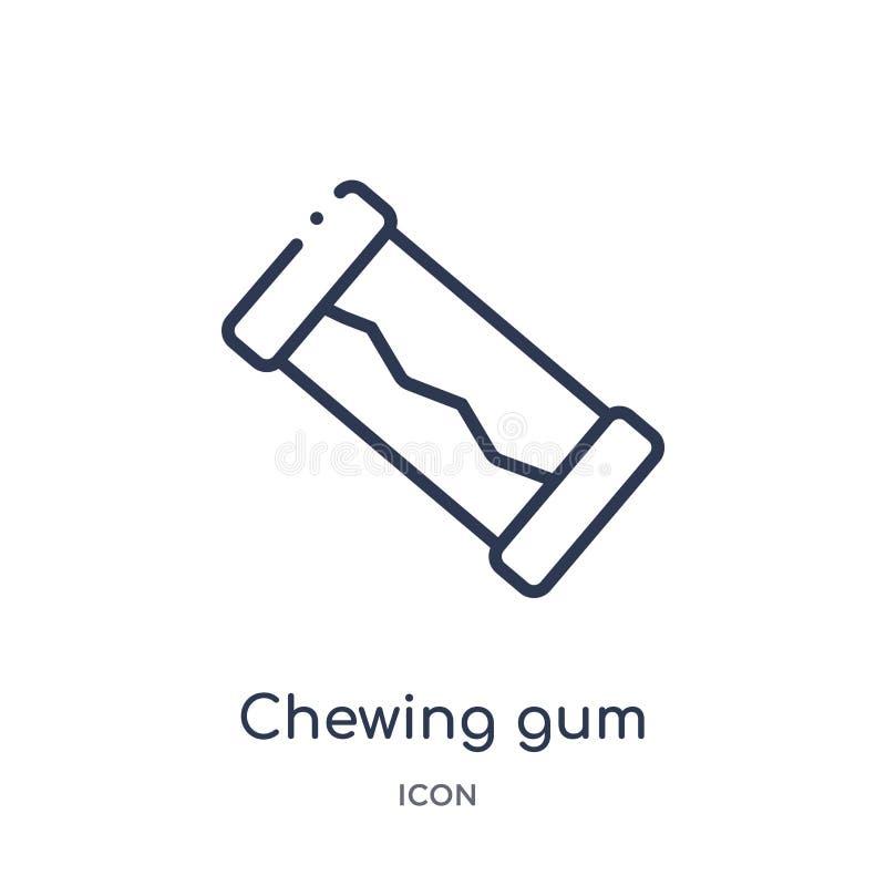 Lineair kauwgompictogram van de inzameling van het Tandartsoverzicht Het dunne die pictogram van de lijn kauwgom op witte achterg vector illustratie