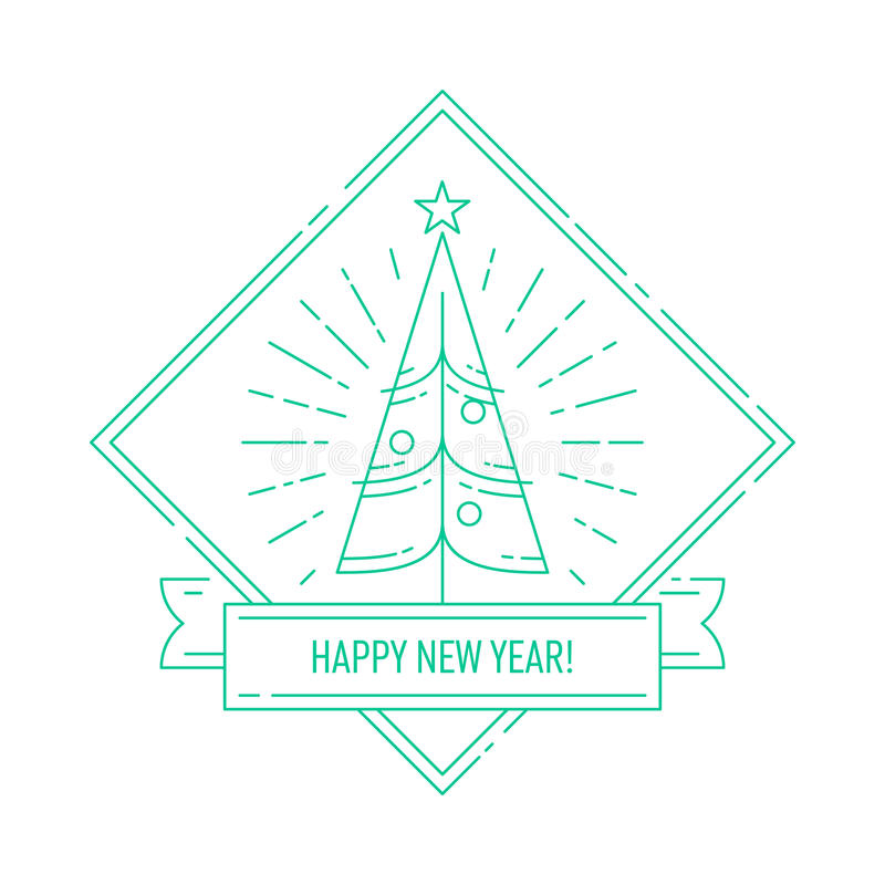 Lineair kenteken met Kerstboom vector illustratie