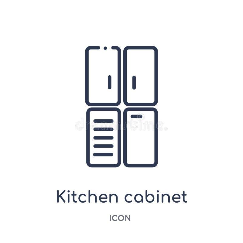Lineair keukenkastpictogram van de inzameling van het Keukenoverzicht Het dunne die pictogram van de lijnkeukenkast op witte acht royalty-vrije illustratie