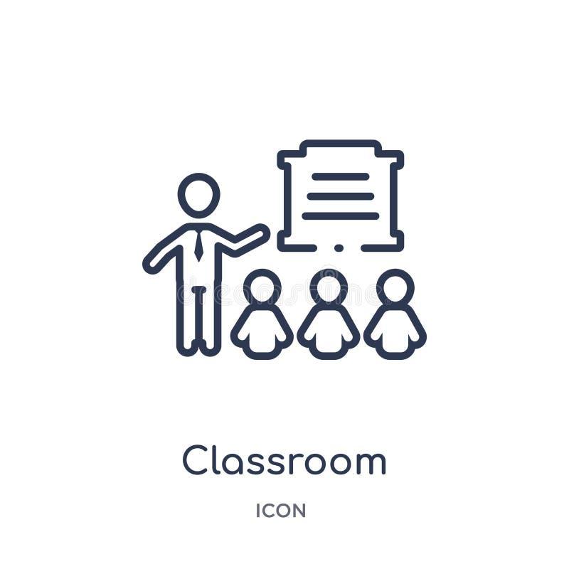 Lineair klaslokaalpictogram van de inzameling van het Mensenoverzicht Het dunne pictogram van het lijnklaslokaal dat op witte ach vector illustratie