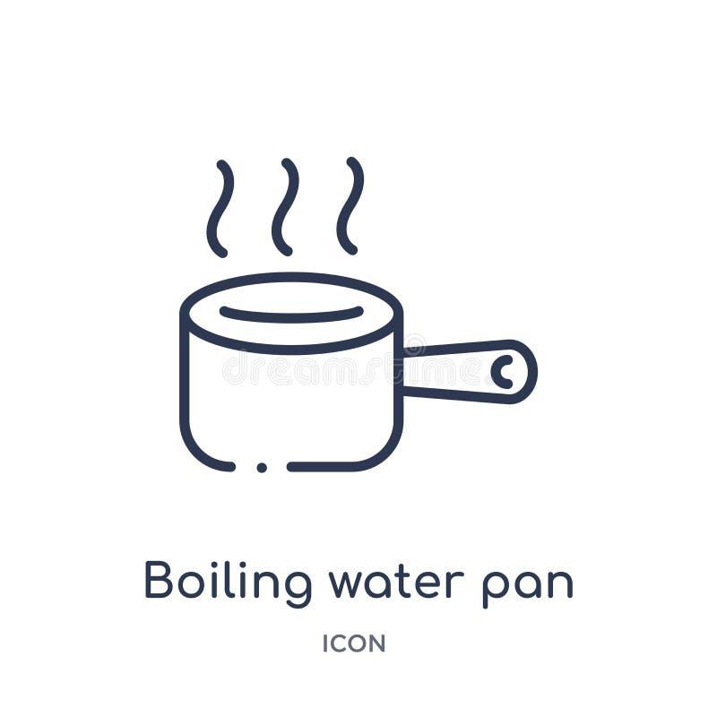 Lineair kokend water panpictogram van het overzichtsinzameling van Bistro en van het restaurant Dunne lijn het koken water pandie vector illustratie