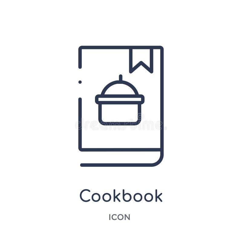 Lineair kookboekpictogram van Hotel en restaurantoverzichtsinzameling Het dunne die pictogram van het lijnkookboek op witte achte royalty-vrije illustratie