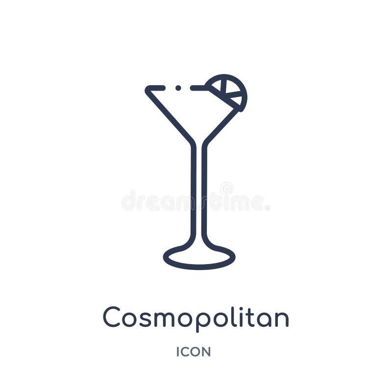 Lineair kosmopolitisch pictogram van de inzameling van het Drankenoverzicht Dunne lijn kosmopolitische die vector op witte achter vector illustratie