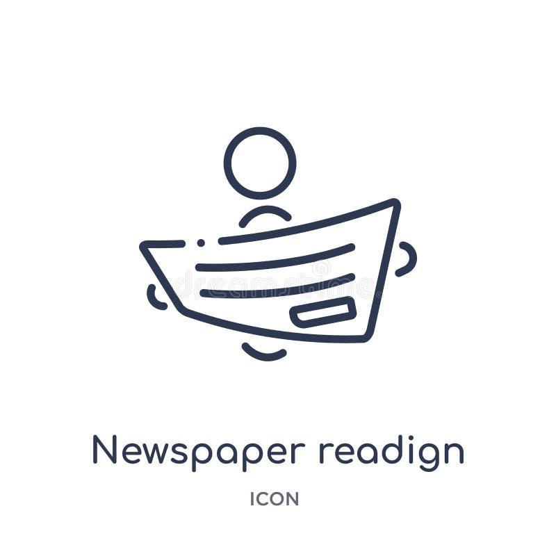 Lineair kranten readign pictogram van Activiteit en van het hobbysoverzicht inzameling De dunne die vector van de lijnkrant readi royalty-vrije illustratie