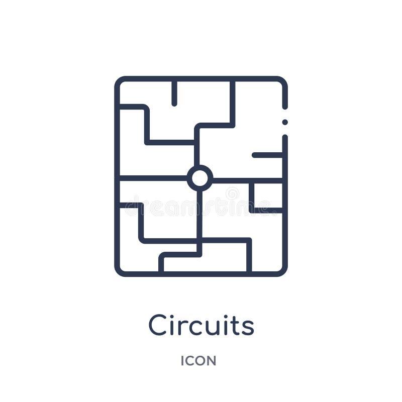 Lineair kringenpictogram van de inzameling van het Hardwareoverzicht Het dunne die pictogram van lijnkringen op witte achtergrond vector illustratie