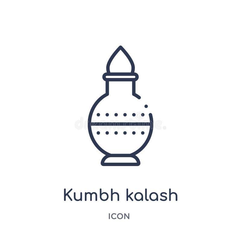 Lineair kumbh kalash pictogram van het overzichtsinzameling van India Dun die lijn kumbh kalash pictogram op witte achtergrond wo royalty-vrije illustratie
