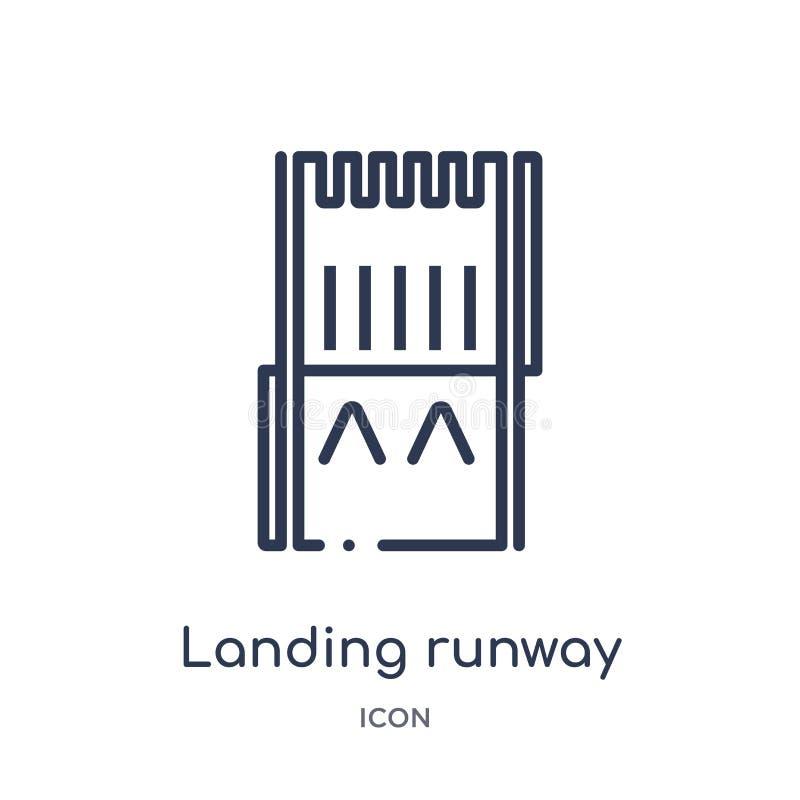 Lineair landend baanpictogram van inzameling van het Luchthaven de eindoverzicht Dunne die lijn het landen baanvector op witte ac royalty-vrije illustratie
