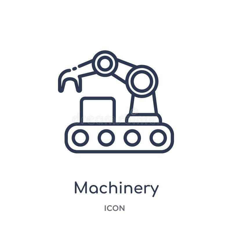 Lineair machinespictogram van de inzameling van het de Industrieoverzicht Het dunne die pictogram van lijnmachines op witte achte stock illustratie