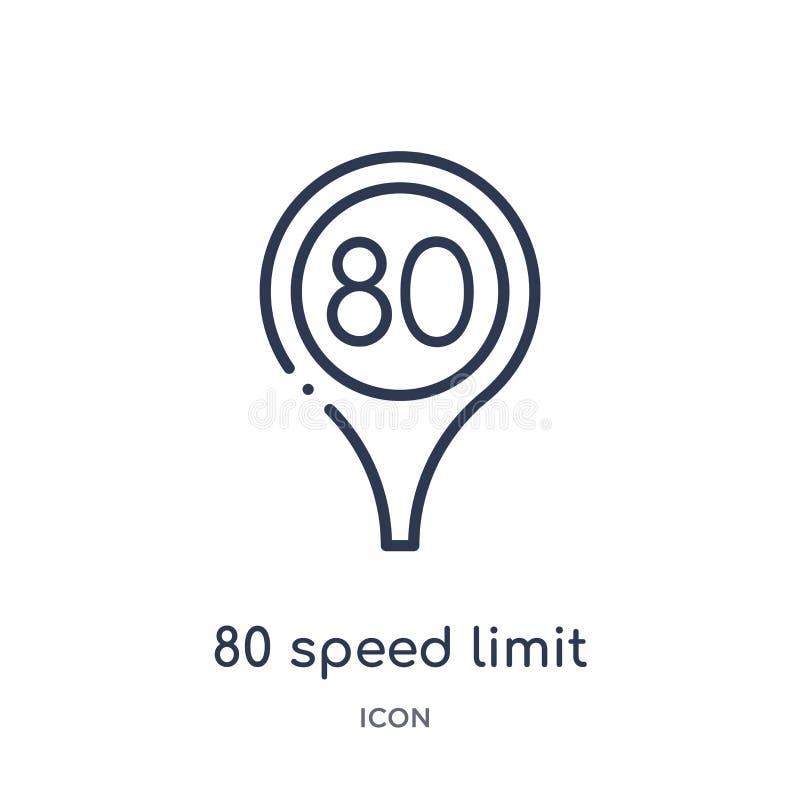 Lineair 80 maximum snelheidpictogram van Kaarten en Vlaggenoverzichtsinzameling Dunne die lijn 80 maximum snelheidpictogram op wi vector illustratie