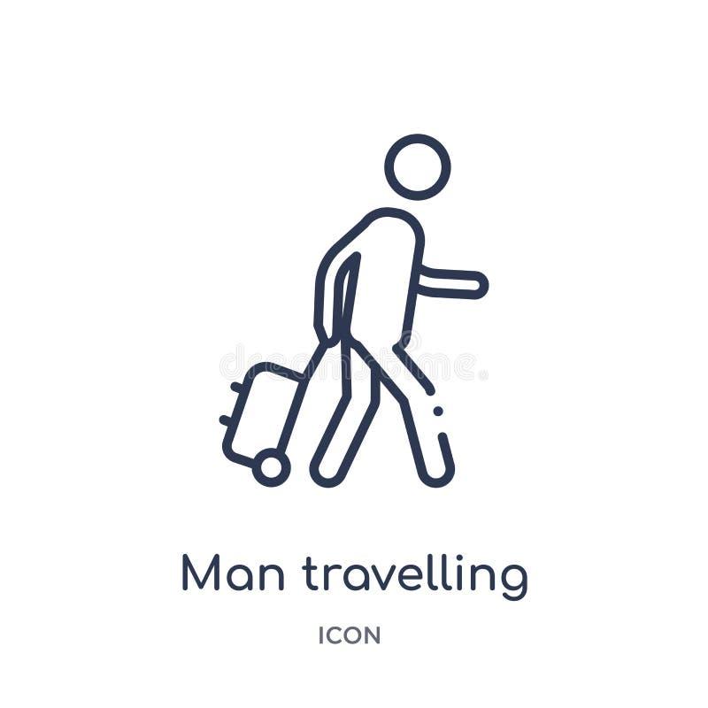 Lineair mensen reizend pictogram van de inzameling van het Gedragsoverzicht De dunne reizende die vector van de lijnmens op witte stock illustratie