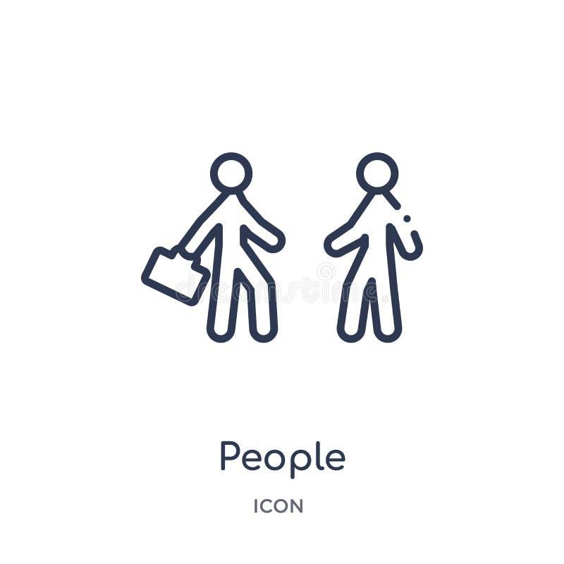 Lineair mensenpictogram van de inzameling van het Aanpassingsoverzicht Het dunne die pictogram van lijnmensen op witte achtergron stock illustratie
