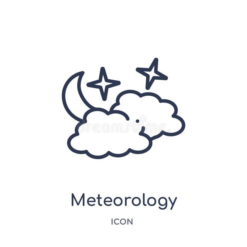 Lineair meteorologiepictogram van de inzameling van het Meteorologieoverzicht Het dunne die pictogram van de lijnmeteorologie op  royalty-vrije illustratie