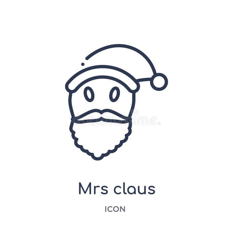 Lineair Mevr.claus pictogram van de inzameling van het Kerstmisoverzicht Dunne die lijn Mevr.claus pictogram op witte achtergrond vector illustratie