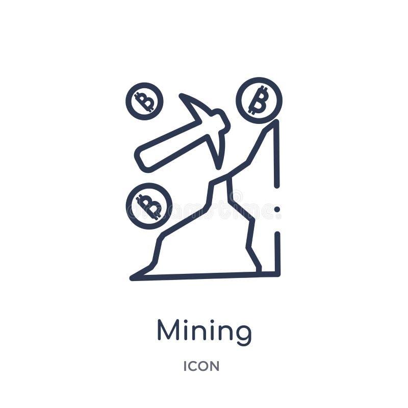 Lineair mijnbouwpictogram van Cryptocurrency-economie en de inzameling van het financiënoverzicht De dunne die vector van de lijn stock illustratie