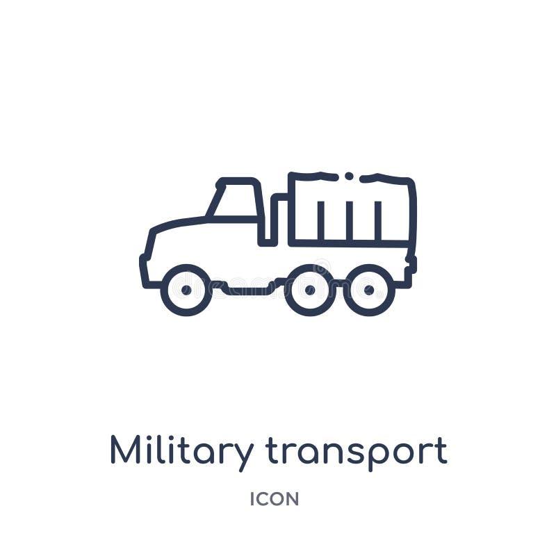 Lineair militair vervoerpictogram van de inzameling van het Legeroverzicht De dunne vector van het lijn militaire die vervoer op  royalty-vrije illustratie
