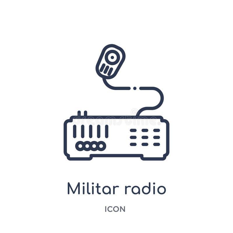 Lineair militar radiopictogram van Leger en de inzameling van het oorlogsoverzicht Dunne lijn militar radiodievector op witte ach stock illustratie