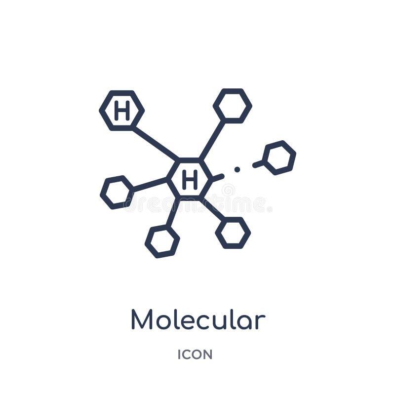 Lineair moleculair structuurpictogram van Medische overzichtsinzameling Het dunne pictogram van de lijn moleculaire die structuur vector illustratie