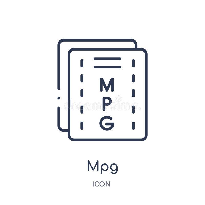 Lineair mpgpictogram van de inzameling van het Bestandstypeoverzicht Dunne lijn mpg vector die op witte achtergrond wordt geïsole stock illustratie