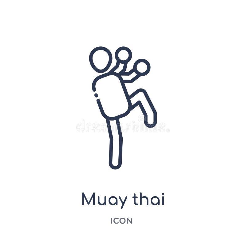Lineair muay Thais pictogram van Diverse overzichtsinzameling Dun lijn muay Thais pictogram dat op witte achtergrond wordt geïsol royalty-vrije illustratie