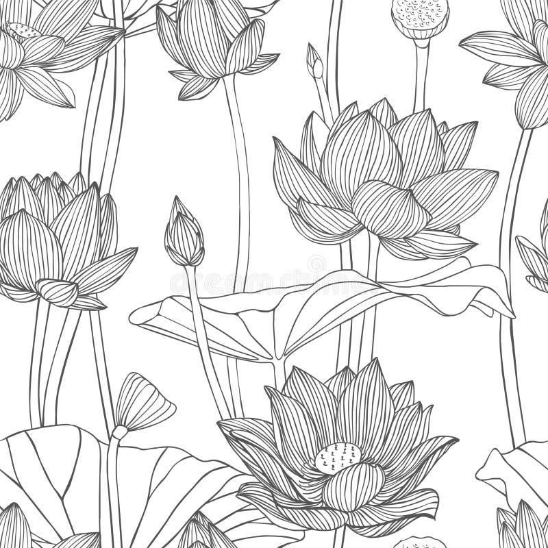 Lineair naadloos patroon - lotusbloembloem royalty-vrije illustratie