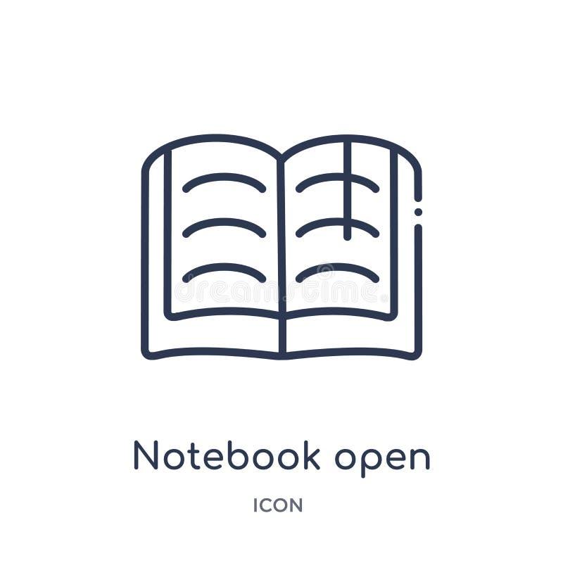 Lineair notitieboekje open met referentiepictogram van de inzameling van het Onderwijsoverzicht Dun lijnnotitieboekje open met ge royalty-vrije illustratie