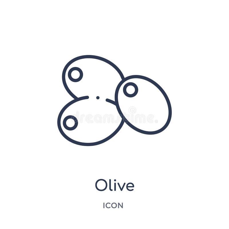 Lineair olijfpictogram van Vruchten overzichtsinzameling Het dunne die pictogram van de lijnolijf op witte achtergrond wordt geïs stock illustratie