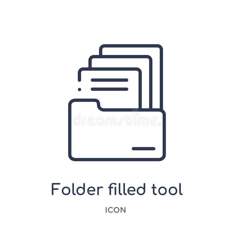 Lineair omslag gevuld hulpmiddelpictogram van Dossiers en omslagenoverzichtsinzameling Het dunne pictogram van het lijnomslag gev royalty-vrije illustratie
