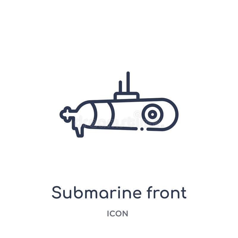 Lineair onderzees vooraanzichtpictogram van Leger en de inzameling van het oorlogsoverzicht De dunne vector van het lijn onderzee stock illustratie