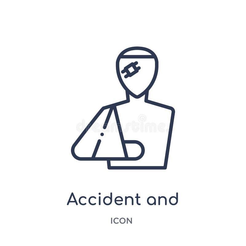 Lineair ongeval en verwondingenpictogram van Wet en rechtvaardigheidsoverzichtsinzameling Dun die lijnongeval en verwondingenpict stock illustratie