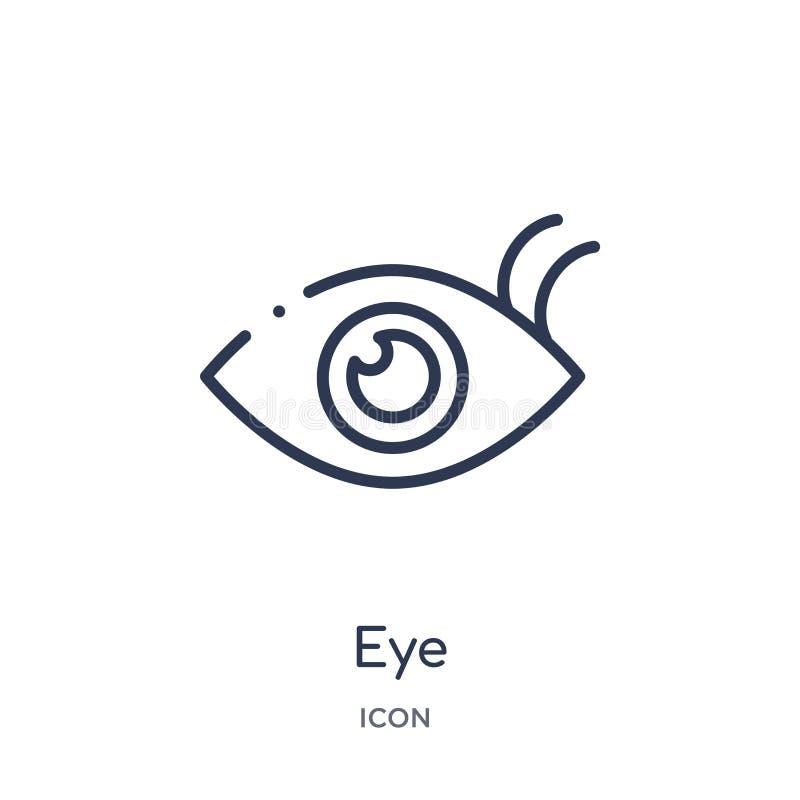 Lineair oogpictogram van de inzameling van het Klantenserviceoverzicht De dunne die vector van het lijnoog op witte achtergrond w stock illustratie