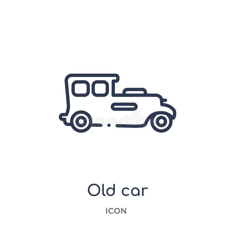 Lineair oud autopictogram van de inzameling van het Luxeoverzicht Het dunne pictogram van de lijn oude die auto op witte achtergr stock illustratie