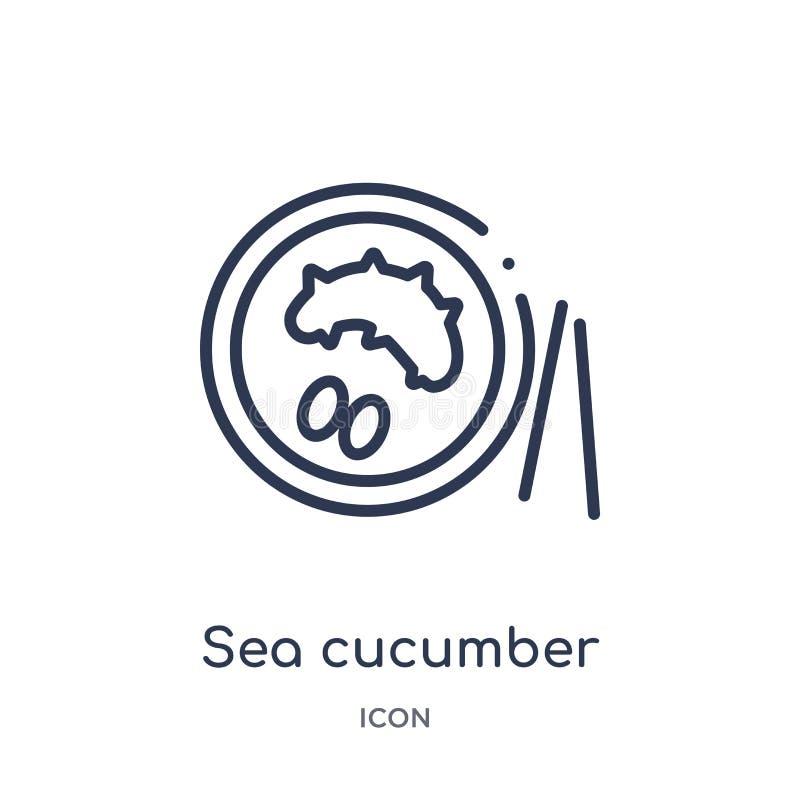 Lineair overzees komkommerpictogram van Voedsel en restaurantoverzichtsinzameling Dun lijn overzees die komkommerpictogram op wit stock illustratie