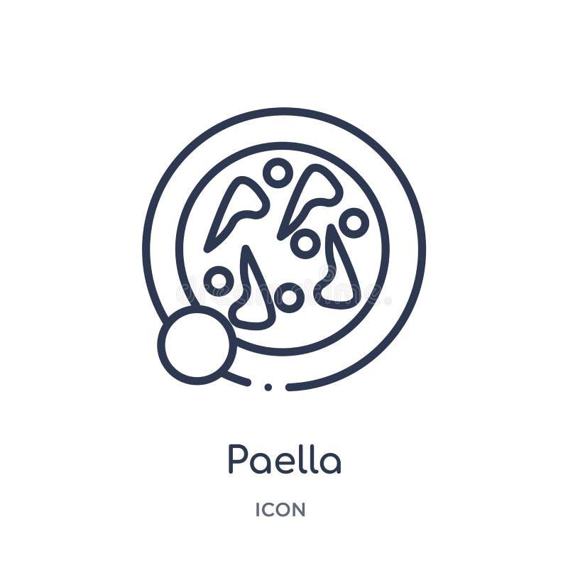 Lineair paellapictogram van de inzameling van het Keukenoverzicht Het dunne die pictogram van de lijnpaella op witte achtergrond  stock illustratie