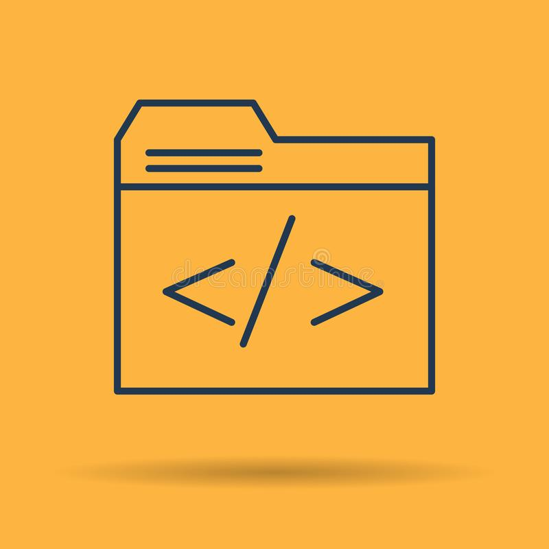 Lineair pictogram - dossieromslag met codagesymbool vector illustratie