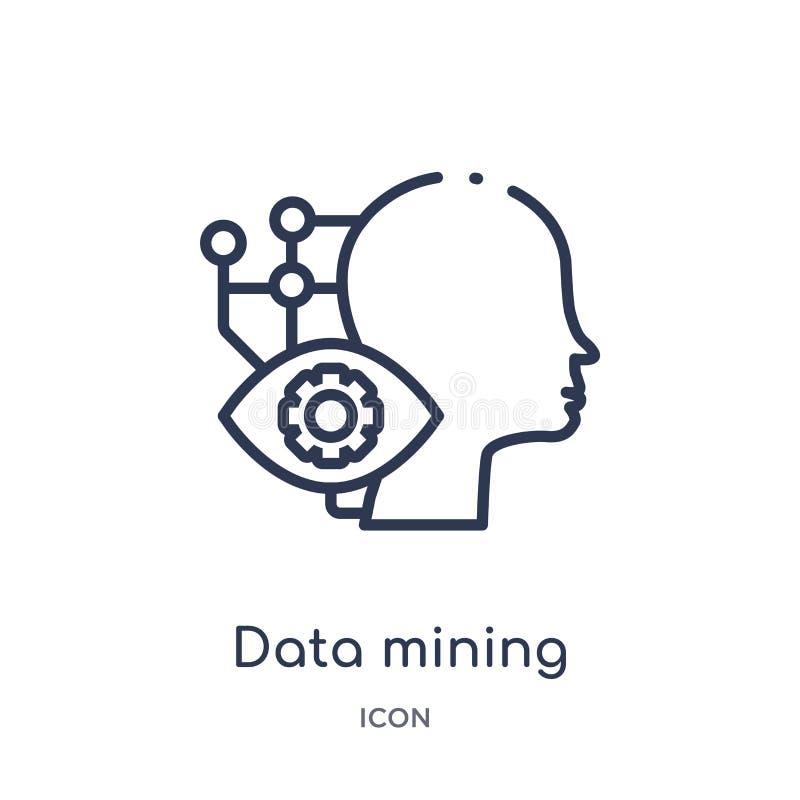 Lineair pictogram voor het exploiteren van gegevens van Kunstmatige intellegence en de toekomstige inzameling van het technologie royalty-vrije illustratie