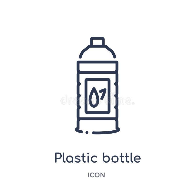 Lineair plastic flessenpictogram van de inzameling van het Ecologieoverzicht De dunne vector van de lijn plastic die fles op witt royalty-vrije illustratie