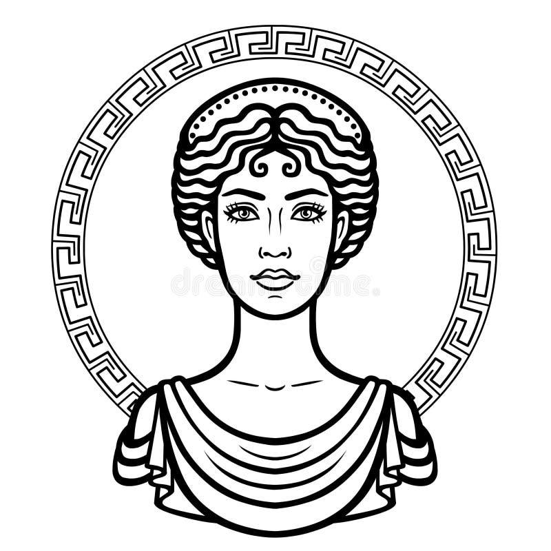 Lineair portret van de jonge Griekse vrouw met een traditioneel kapsel Decoratieve cirkel royalty-vrije illustratie