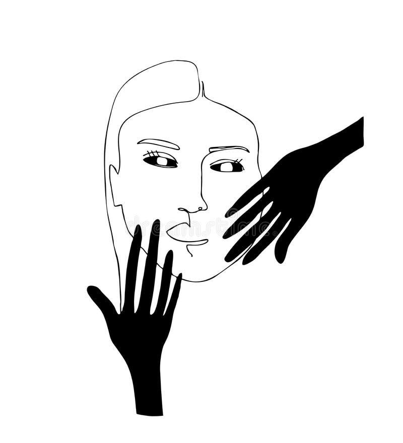 Lineair portret van maniervrouw met zwarte handen stock illustratie