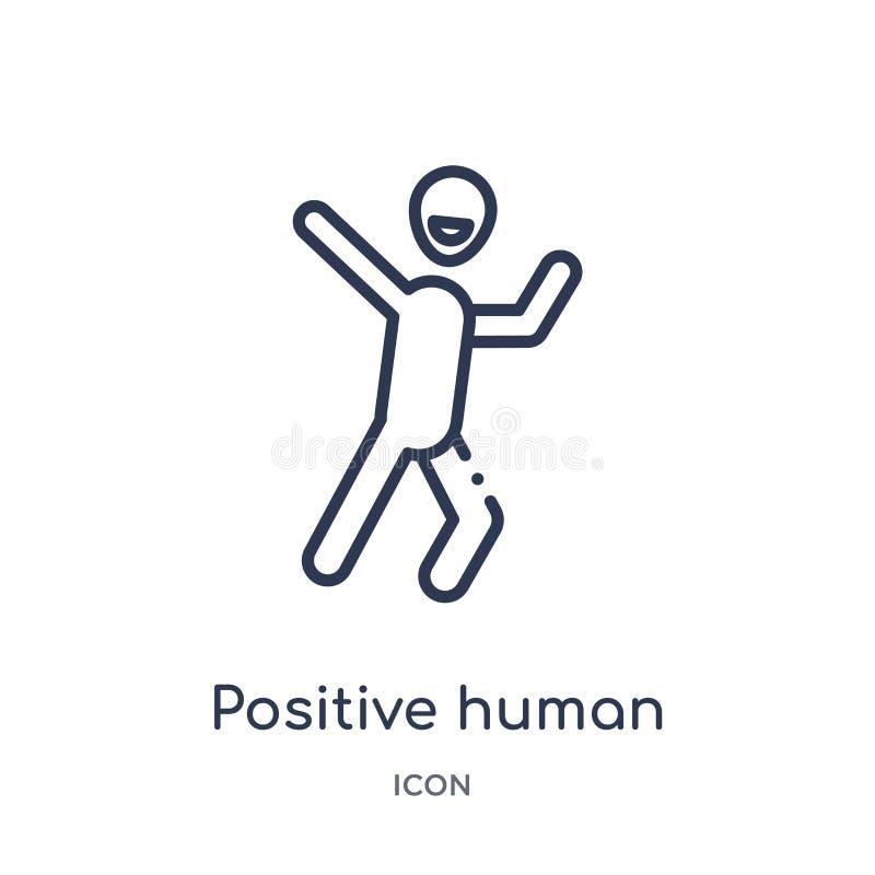 Lineair positief menselijk pictogram van de inzameling van het Gevoelsoverzicht Dunne lijn positieve menselijke die vector op wit vector illustratie