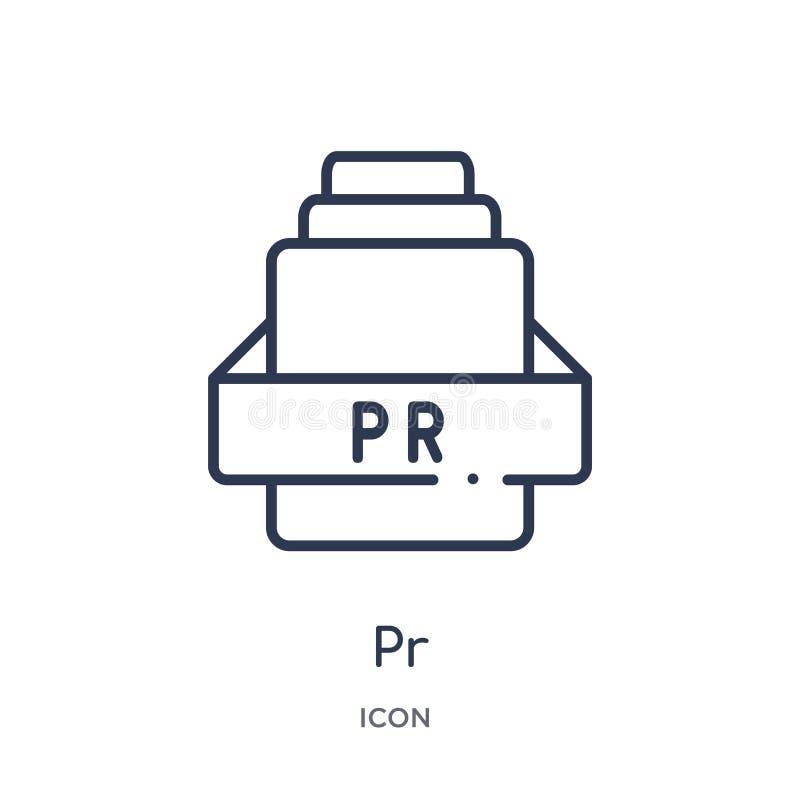 Lineair PR-pictogram van de inzameling van het Bestandstypeoverzicht Dunne lijnpr vector die op witte achtergrond wordt geïsoleer stock illustratie