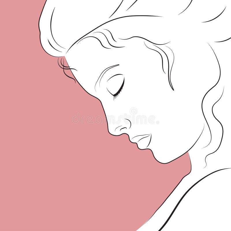 Lineair profiel van een mooie vrouw royalty-vrije stock afbeelding