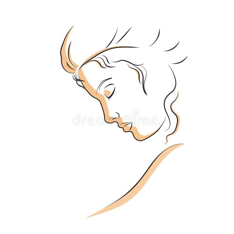 Lineair profiel van een mooie vrouw royalty-vrije stock foto