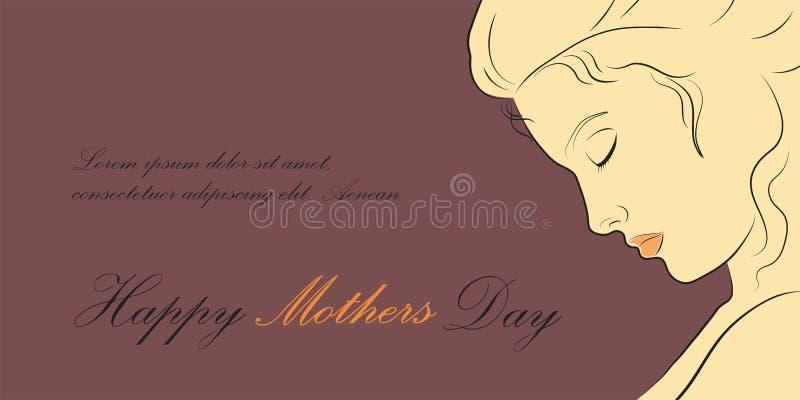 Lineair profiel van een mooie vrouw De gelukkige Illustratie van de moedersdag royalty-vrije stock fotografie