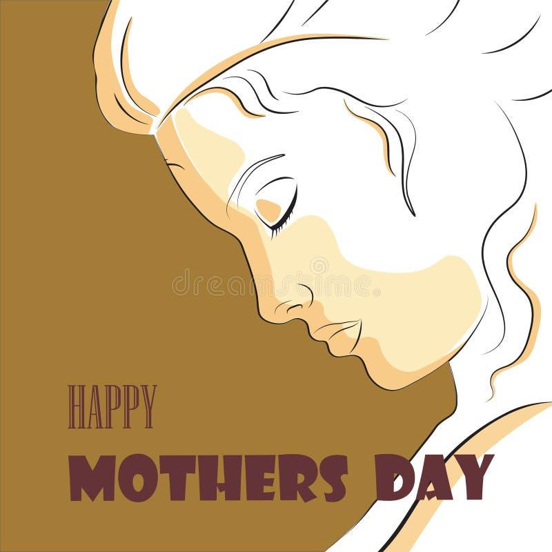 Lineair profiel van een mooie vrouw De gelukkige Illustratie van de moedersdag royalty-vrije stock afbeelding
