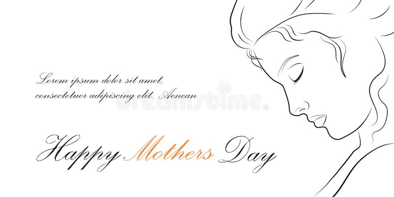 Lineair profiel van een mooie vrouw De gelukkige Illustratie van de moedersdag stock foto's