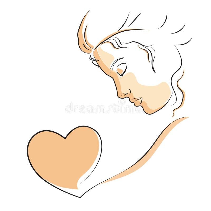 Lineair profiel van een mooie vrouw met hart royalty-vrije stock foto's