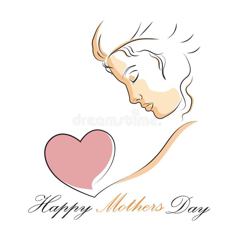 Lineair profiel van een mooie vrouw met hart De gelukkige Illustratie van de moedersdag royalty-vrije stock foto