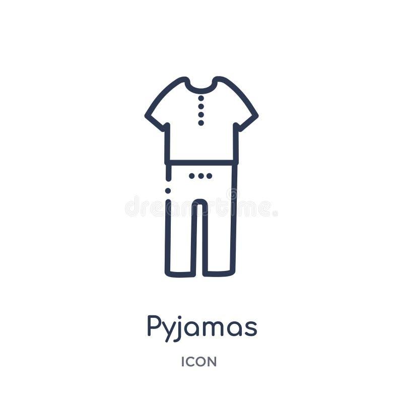 Lineair pyjamapictogram van de inzameling van het Klerenoverzicht De dunne die vector van de lijnpyjama op witte achtergrond word stock illustratie