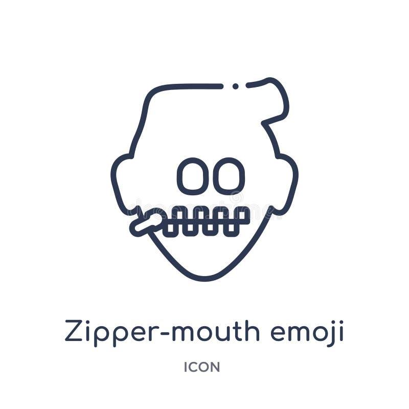 Lineair ritssluiting-mond emojipictogram van Emoji-overzichtsinzameling Dunne die lijn ritssluiting-mond emojivector op witte ach vector illustratie